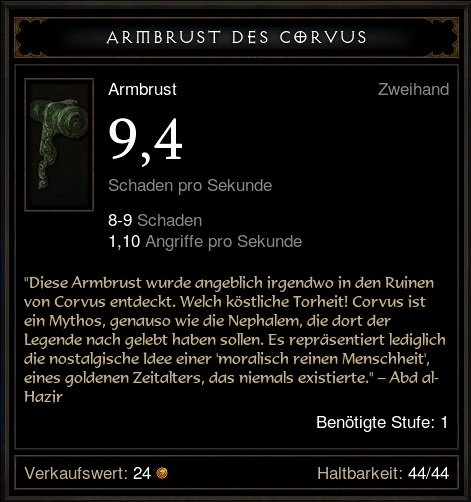 Armbrust des Corvus