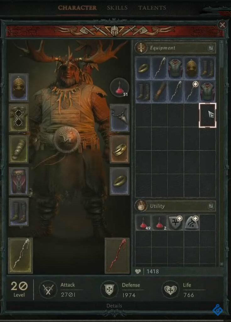Diablo 4 Druide Charakter Screen 2019